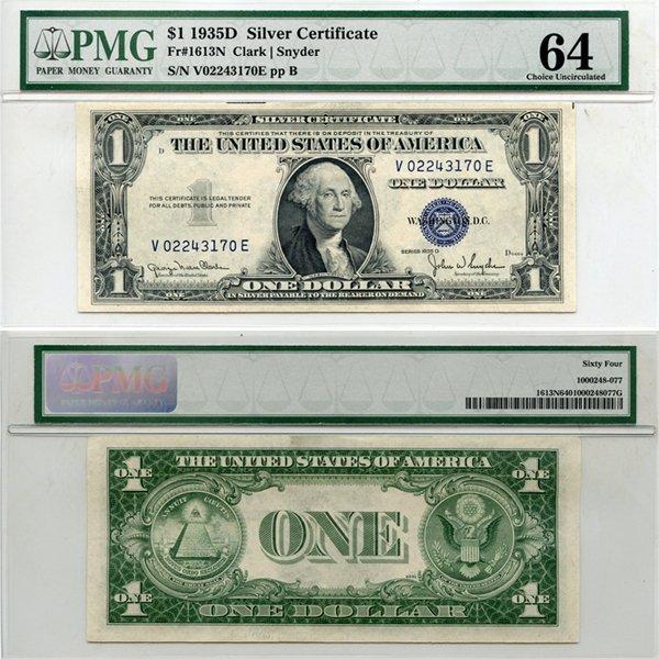 1935-D $1 Silver Certificate Choice UNC 64 PMG