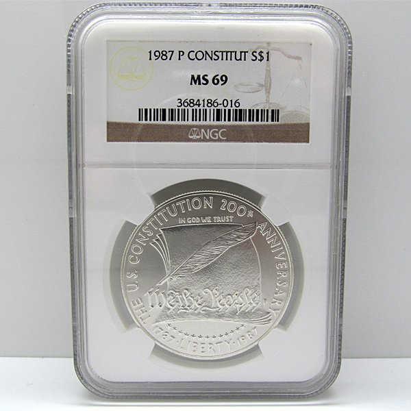 1987-P US Constitution Silver Dollar MS69 NGC