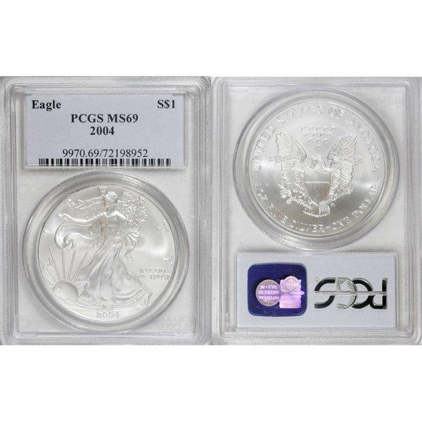 2004 1 Oz Silver Eagle MS69 PCGS