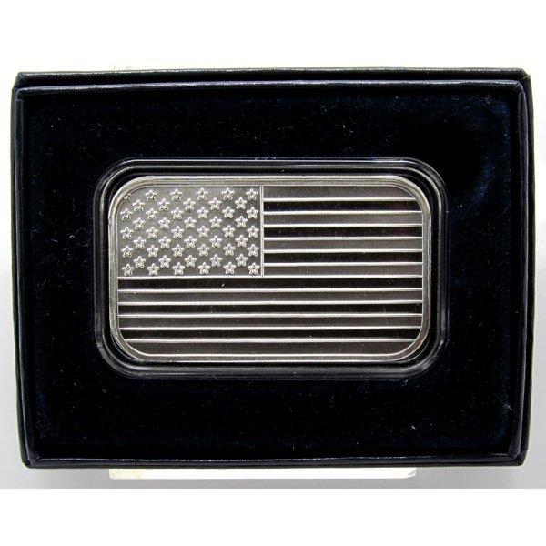 1 Oz American Flag .999 Fine Silver Bar - w/Box