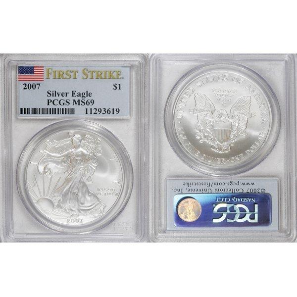 2007 1 Oz Silver Eagle First Strike MS69 PCGS