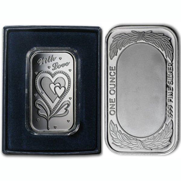 1 Oz With Love Design .999 Silver Bar - w/Gift Box
