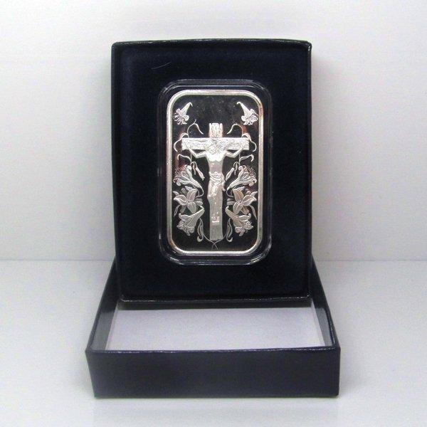 1 Oz Jesus Design .999 Fine Silver Bar - w/Gift Box