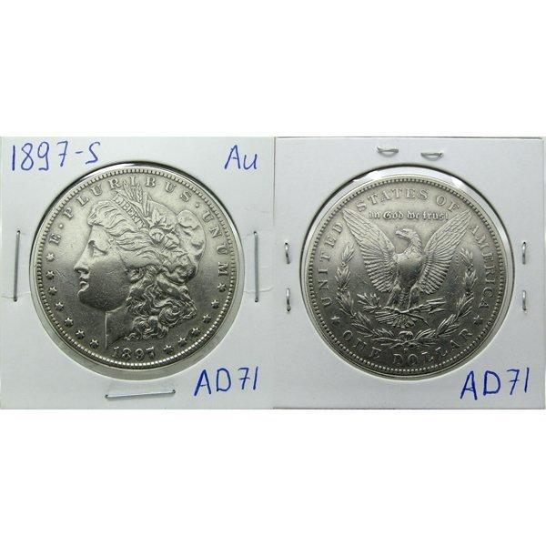 1897-S Morgan Silver Dollar - Almost Uncirculated #AD71