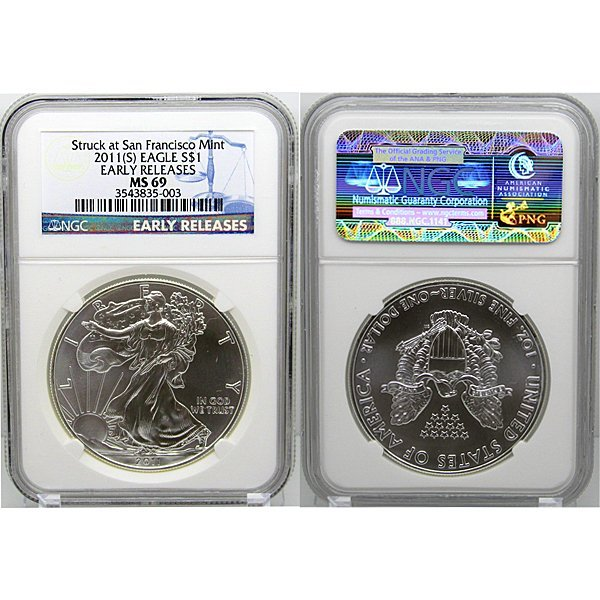 2011-(S) Eagle Early Release MS69 NGC Blue Label