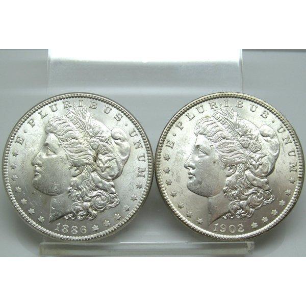 2-Coin Set: Morgan Silver Dollars - Uncirculated