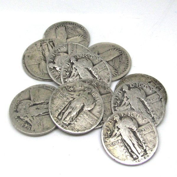 $3 Face Value 90% Silver Standing Liberty Quarters