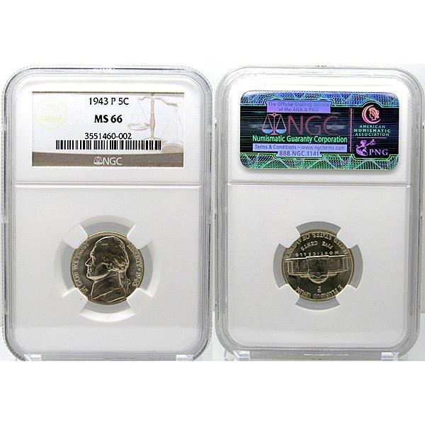 1943-P Jefferson War Nickel MS66 NGC