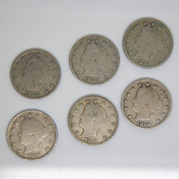 6-Coin Set Liberty Head V Nickel