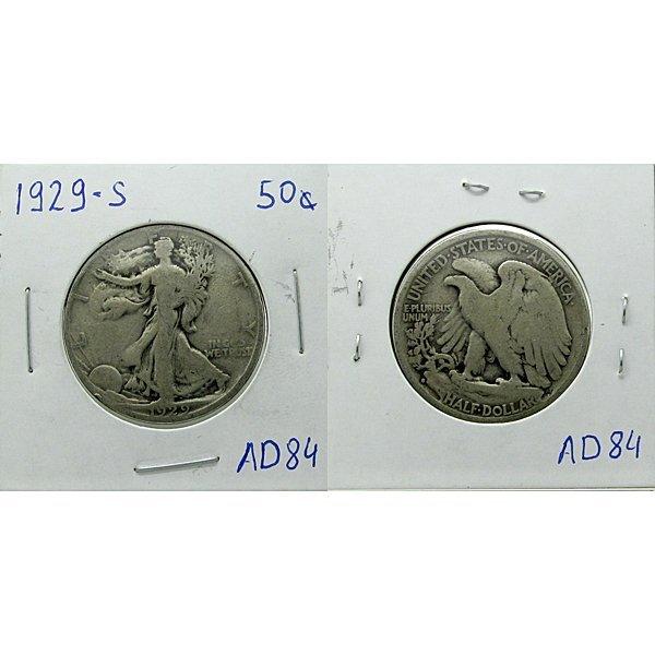 1929-S Silver Walking Liberty Half Dollar #AD84
