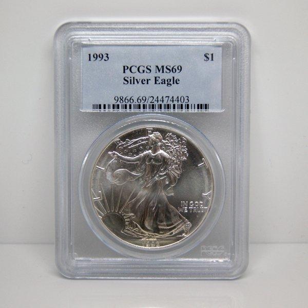 1993 1 Oz Silver Eagle MS69 PCGS