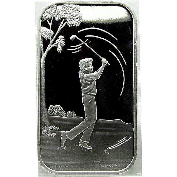1 Oz Male Golfer Design .999 Fine Silver Bar