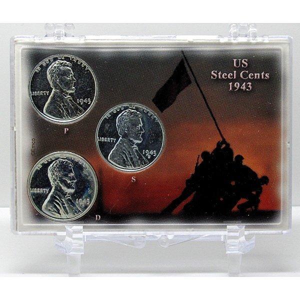 1943-P-D-S Steel Cents Iwo Jima Snap Lock - Unc