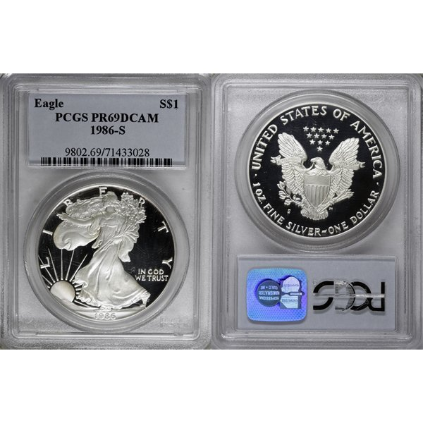 1986-S $1 Proof Silver Eagle PR69 PCGS
