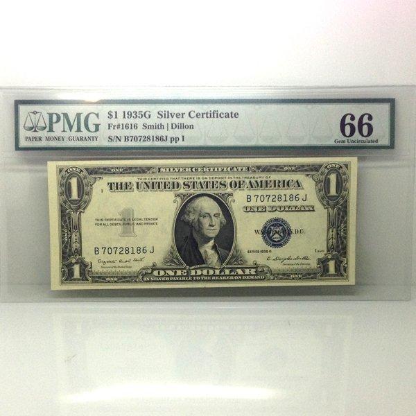 1935-G $1 Silver Certificate Gem UNC 66 PMG