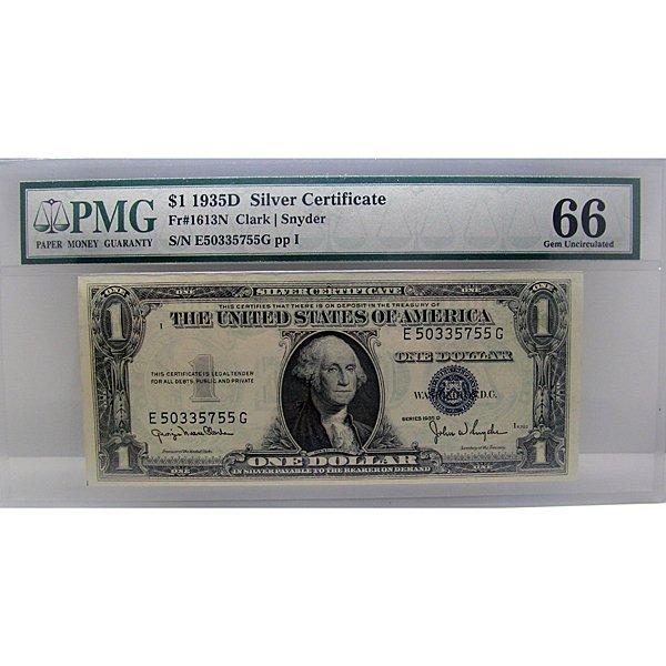 1935-D $1 Silver Certificate Gem UNC 66 PMG