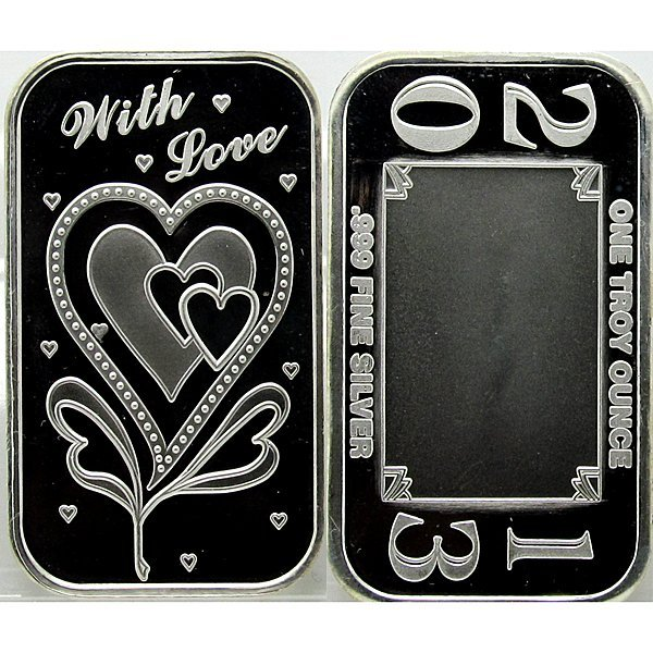 1 Oz With Love Design .999 Fine Silver Bar