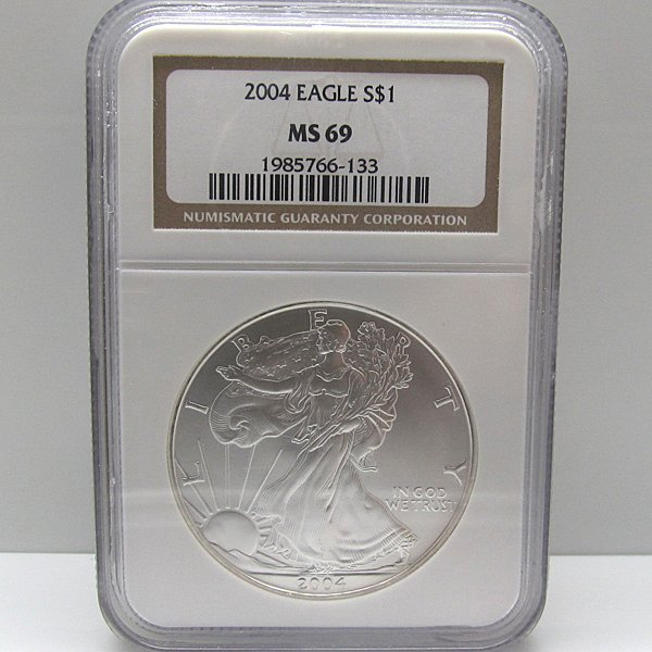 2004 Silver Eagle MS69 NGC - Brown Label