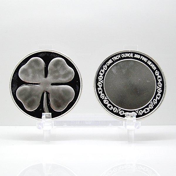 1 Oz Four Leaf Clover Design .999 Fine Silver Round