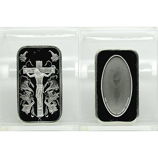 1 Oz Jesus Design .999 Fine Silver Bar