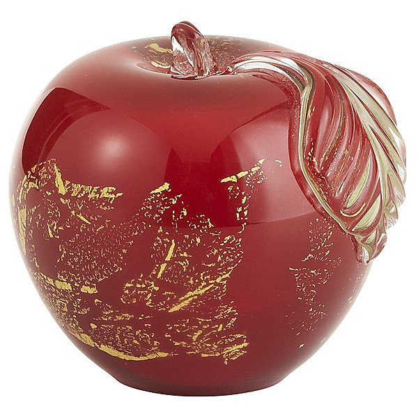 Red Glass Apple Paperweight
