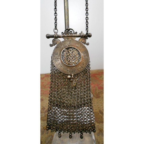 1900s Silver Chinese Mesh Purse