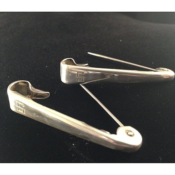 Mid Century Child Sterling Silver Diaper Pins w/Box