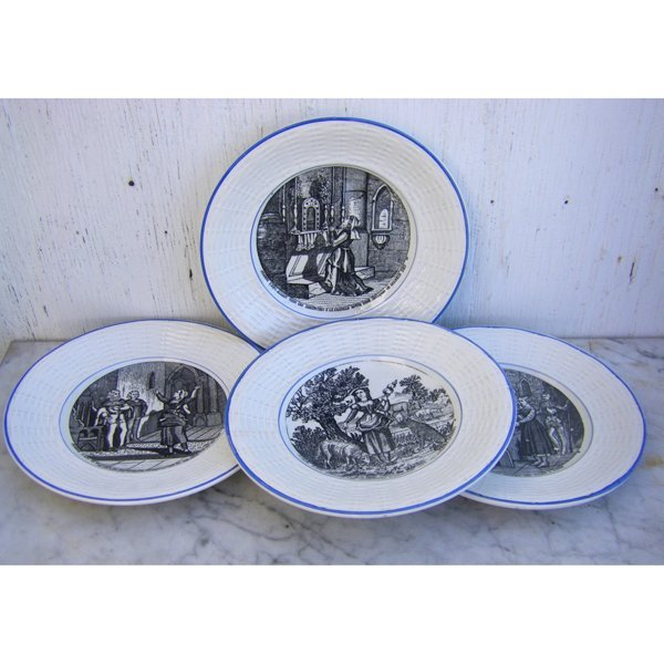 Antique Set of 4 Joan of Arc Plates by Sarreguemines in