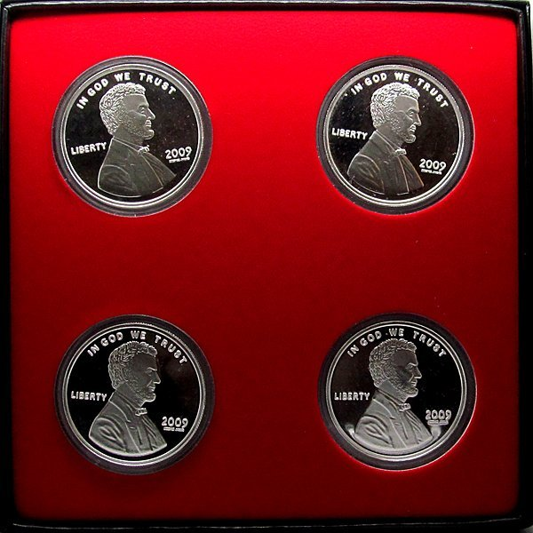 4 pc 2009 Lincoln Bicentennial .999 Rounds - w/Box