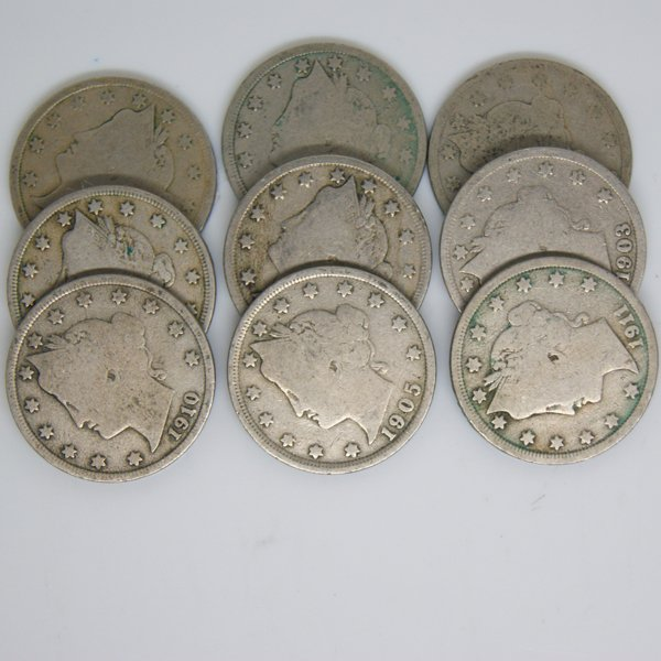 9-Coin Set Liberty Head V Nickel - Full Date