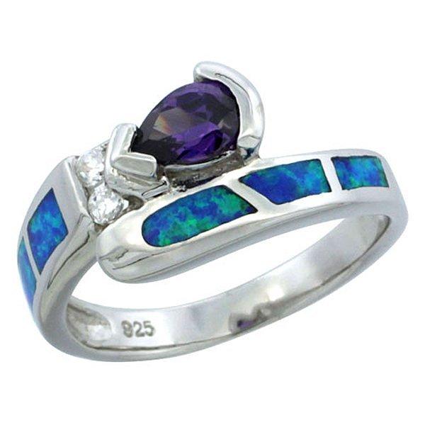 Sterling Silver Blue Opal Ring with Teardrop Blue Topaz