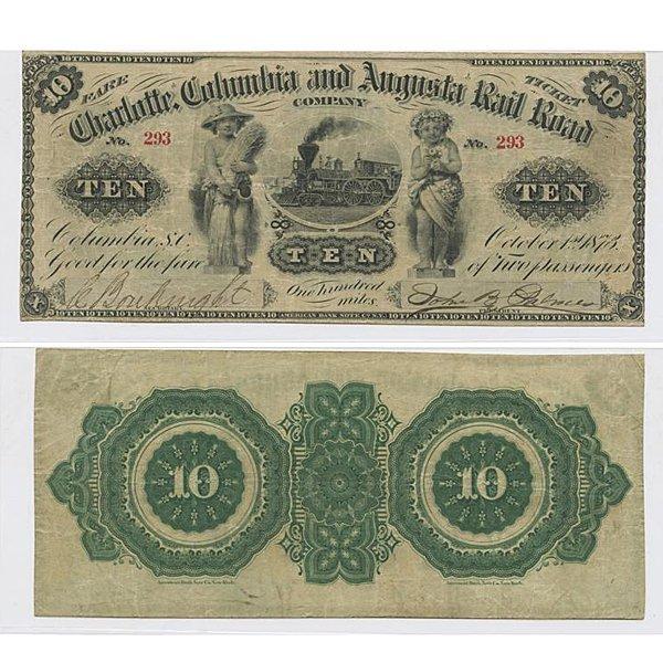 1873 $10 Charolotte Columbia and Augusta Rail Road