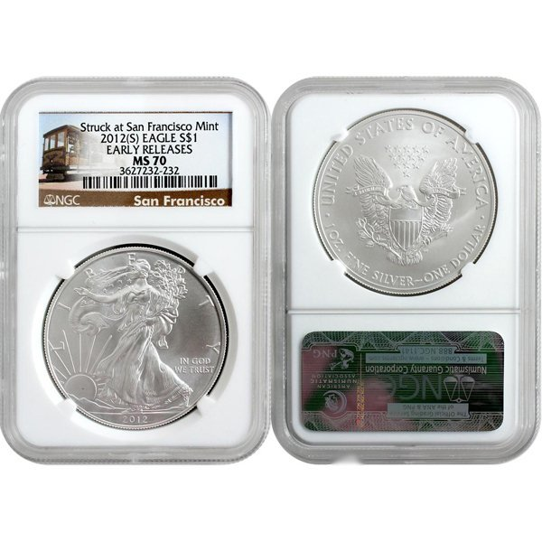 2012-(S) Eagle Early Release MS70 NGC Trolley Label