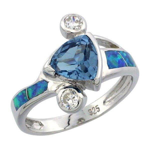 Sterling Silver Opal Ring Trillion Cut Blue Topaz