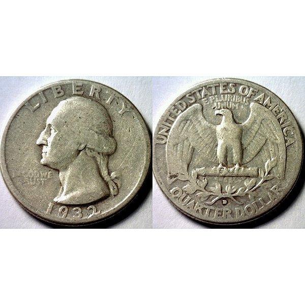 1932-D Silver Washington Quarter -Fine -Key Date