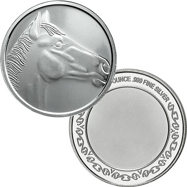 1 Oz Horsehead Design .999 Fine Silver Round