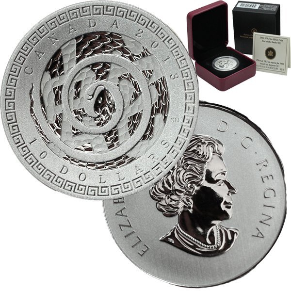 2013 $10 Canadian Silver Year of the Snake w/Box&CoA