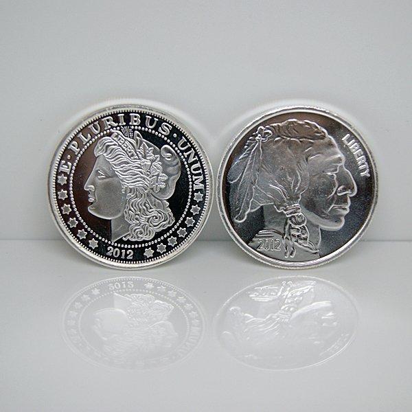 2-Coin Set: Buffalo & Morgan .999 Silver Rounds