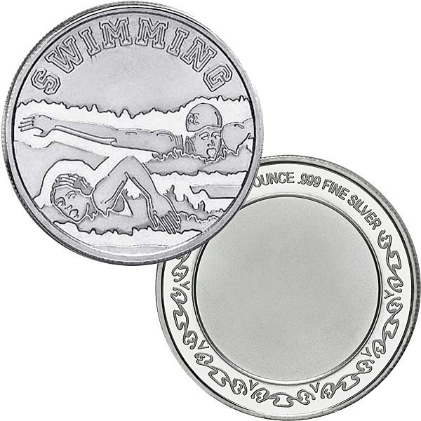 1 Oz Swimming Design .999 Fine Silver Round