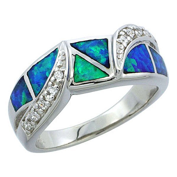 """Sterling Silver Opal ing with CZ Stones, 5/16"""" Wide"""