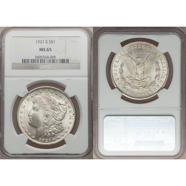 1921 $1 Morgan Silver Dollar MS65 NGC