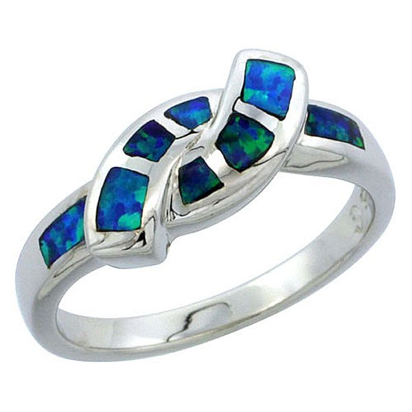 Sterling Silver Blue Opal Inlay Friendship Knot Ring