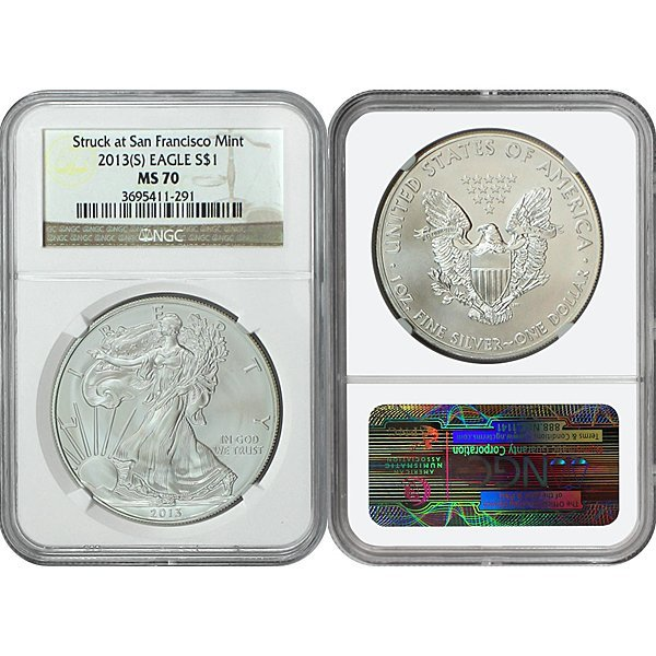 2013-(S) Silver Eagle MS70 NGC - Brown Label