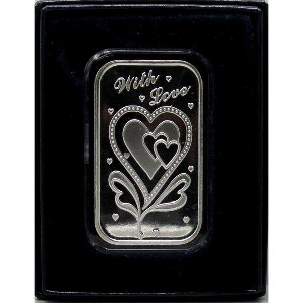 1 Oz With Love Design .999 Fine Silver Bar - w/Box