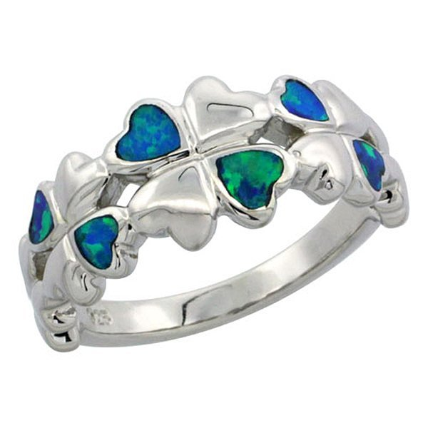 Sterling Silver Blue Opal Inlay Hearts Ring