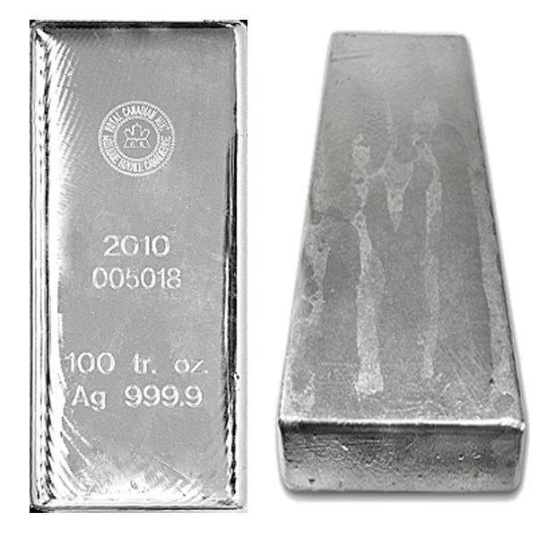 100 Oz Royal Canadian Mint RCM Silver Bar .9999 Fine