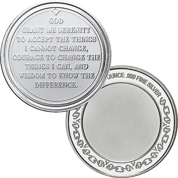 1 Oz Serenity Prayer Design .999 Silver Round