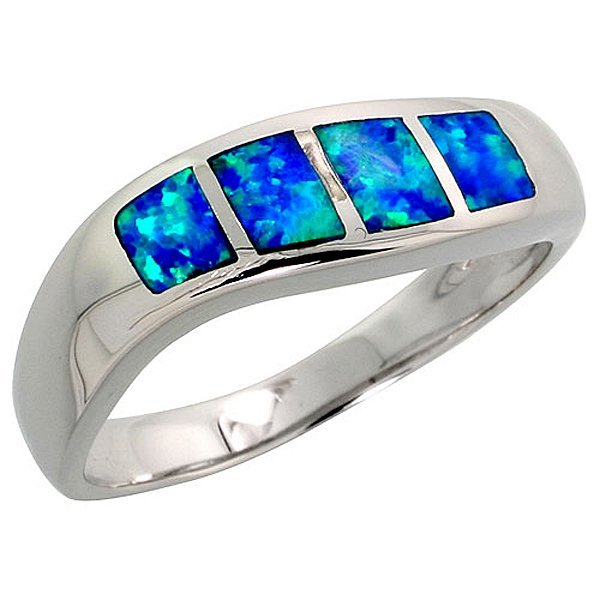 Sterling Silver Blue Opal Inlay Wave Ring