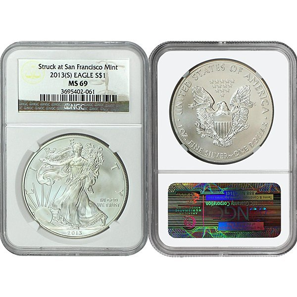 2013-(S) Silver Eagle MS69 NGC - Brown Label