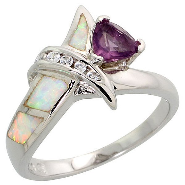 Sterling Silver Opal Ring with Amethyst & CZ Stones